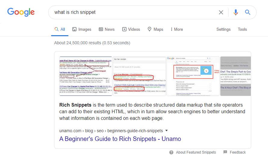 Basic SEO Dictionary - Rich Snippets
